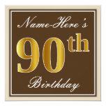 [ Thumbnail: Elegant, Brown, Faux Gold 90th Birthday + Name Invitation ]