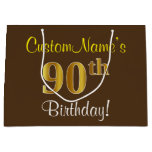[ Thumbnail: Elegant, Brown, Faux Gold 90th Birthday + Name Gift Bag ]