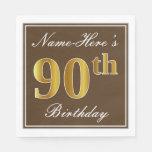 [ Thumbnail: Elegant Brown, Faux Gold 90th Birthday + Name Napkin ]