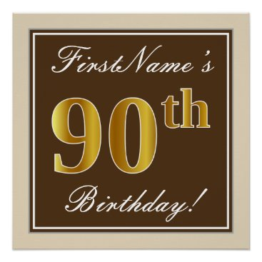 Art Themed Elegant, Brown, Faux Gold 90th Birthday   Name Poster