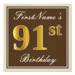 [ Thumbnail: Elegant, Brown, Faux Gold 91st Birthday + Name Invitation ]