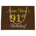[ Thumbnail: Elegant, Brown, Faux Gold 91st Birthday + Name Gift Bag ]