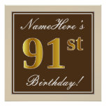 [ Thumbnail: Elegant, Brown, Faux Gold 91st Birthday + Name Poster ]