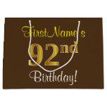 [ Thumbnail: Elegant, Brown, Faux Gold 92nd Birthday + Name Gift Bag ]