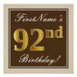 [ Thumbnail: Elegant, Brown, Faux Gold 92nd Birthday + Name Poster ]