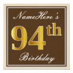 [ Thumbnail: Elegant, Brown, Faux Gold 94th Birthday + Name Invitation ]