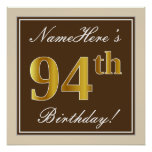 [ Thumbnail: Elegant, Brown, Faux Gold 94th Birthday + Name Poster ]