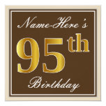 [ Thumbnail: Elegant, Brown, Faux Gold 95th Birthday + Name Invitation ]