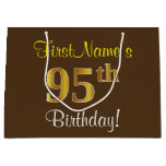 [ Thumbnail: Elegant, Brown, Faux Gold 95th Birthday + Name Gift Bag ]