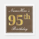[ Thumbnail: Elegant Brown, Faux Gold 95th Birthday + Name Paper Napkin ]