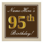 [ Thumbnail: Elegant, Brown, Faux Gold 95th Birthday + Name Poster ]