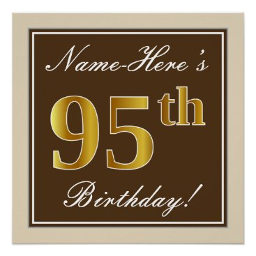 Art Themed Elegant, Brown, Faux Gold 95th Birthday   Name Poster