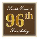 [ Thumbnail: Elegant, Brown, Faux Gold 96th Birthday + Name Invitation ]
