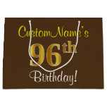 [ Thumbnail: Elegant, Brown, Faux Gold 96th Birthday + Name Gift Bag ]
