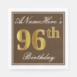 [ Thumbnail: Elegant Brown, Faux Gold 96th Birthday + Name Paper Napkin ]