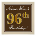 [ Thumbnail: Elegant, Brown, Faux Gold 96th Birthday + Name Poster ]