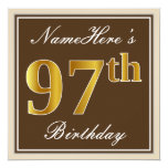 [ Thumbnail: Elegant, Brown, Faux Gold 97th Birthday + Name Invitation ]
