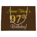 [ Thumbnail: Elegant, Brown, Faux Gold 97th Birthday + Name Gift Bag ]