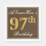 [ Thumbnail: Elegant Brown, Faux Gold 97th Birthday + Name Napkin ]
