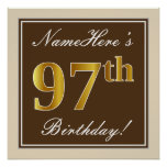 [ Thumbnail: Elegant, Brown, Faux Gold 97th Birthday + Name Poster ]