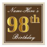 [ Thumbnail: Elegant, Brown, Faux Gold 98th Birthday + Name Invitation ]