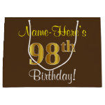 [ Thumbnail: Elegant, Brown, Faux Gold 98th Birthday + Name Gift Bag ]