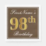 [ Thumbnail: Elegant Brown, Faux Gold 98th Birthday + Name Paper Napkin ]