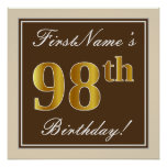[ Thumbnail: Elegant, Brown, Faux Gold 98th Birthday + Name Poster ]