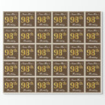 [ Thumbnail: Elegant, Brown, Faux Gold 98th Birthday + Name Wrapping Paper ]