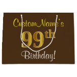 [ Thumbnail: Elegant, Brown, Faux Gold 99th Birthday + Name Gift Bag ]