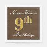 [ Thumbnail: Elegant Brown, Faux Gold 9th Birthday; Custom Name Paper Napkin ]