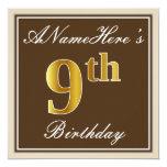 [ Thumbnail: Elegant, Brown, Faux Gold 9th Birthday + Name Invitation ]