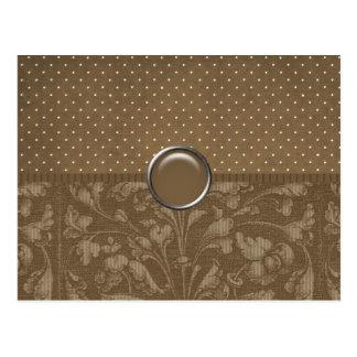 Elegant Brown Floral and Dots Postcard