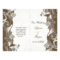 Elegant brown floral bi fold Wedding program