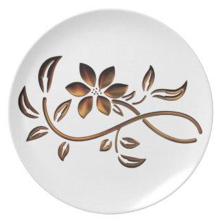 Elegant Brown Flower Plate