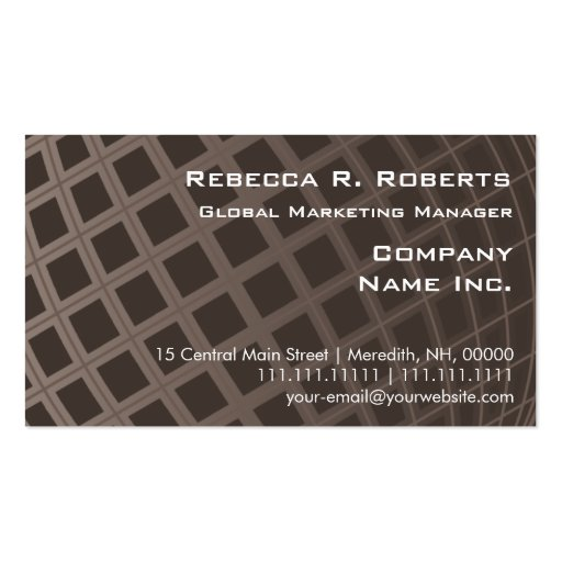 Elegant Brown Globe Marketing Executive Simple Business Card