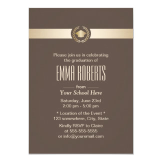 Elegant Brown & Gold Class of 2016 Graduation Card