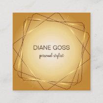 Elegant Brown Gold metallic design Square Business Card