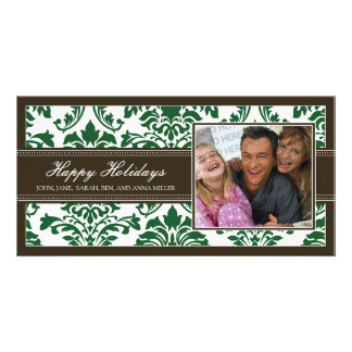 Elegant Brown & Green Damask Custom Happy Holidays Card