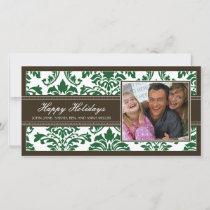 Elegant Brown & Green Damask Custom Happy Holidays Holiday Card