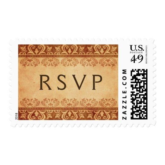 Elegant brown lace damask RSVP postage stamp