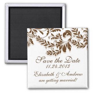 Elegant Brown Leaf Swirl Save The Date Magnet