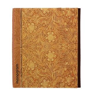 Elegant Brown Leather Look Embossed Flowers iPad Case