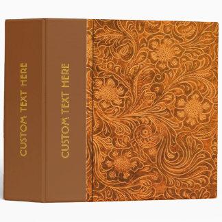 Elegant Brown Leather Look Floral Embossed Pattern 3 Ring Binders