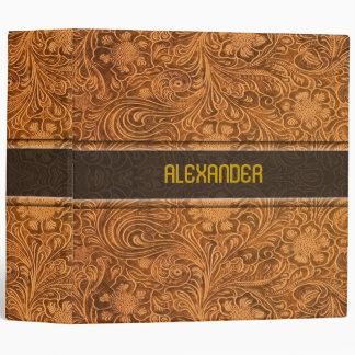 Elegant Brown Leather Look Floral Embossed Pattern Binder