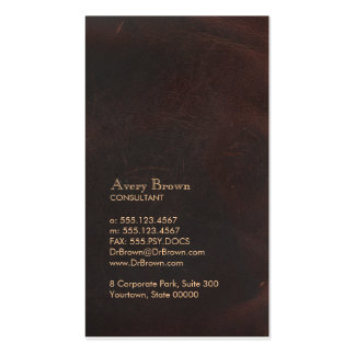 Elegant Brown Leather Look Professional Classic Double-Sided Standard Business Cards (Pack Of 100)