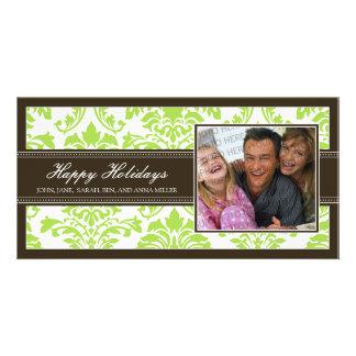 Elegant Brown & Lime Damask Custom Happy Holidays Card