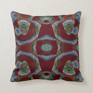 Elegant brown maroon blue abstract throw pillow