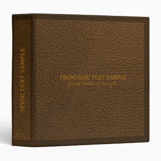 Elegant Brown Natural Faux Leather Print 3 Ring Binder