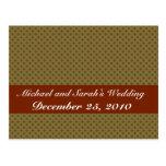 Elegant  brown octagonal pattern on rough light br postcard